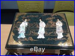 Custom Handmade Large Chinese Lacquered Wood Jewelry Box