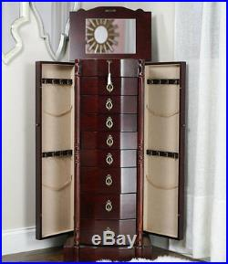 Deluxe Jewelry Armoire Chest Box Large Cabinet Stand Organizer Wood Storage Box