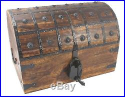 Distressed Pirate Treasure Chest XL Extra Large 16x11x11 Antique Style Lock