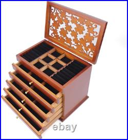Eapmic Extra Large Four-Leaf Carved 6 Layers Wooden Jewelry Box Jewelry Case Box