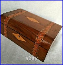 Early 19th Century Marquetry Inlay Domed Wooden Casket Jewellery Storage Box