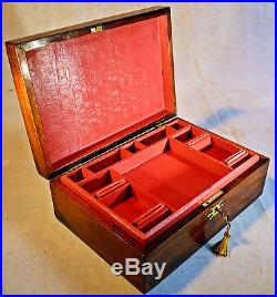 Early Victorian Rosewood Jewellery Box with Key