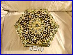 Egyptian Inlaid Mother of Pearl Paua Jewelry Box 10 #165 Unique Design