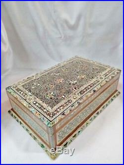Egyptian Mother of Pearl Paua Base Wooden Inlaid Jewelry Box 10.8 X 7 #116 WOW