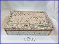 Egyptian Mother of Pearl Paua Handmade Wooden Inlaid Jewelry Box 10 X 6.5 #559