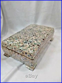 Egyptian Mother of Pearl Paua Unique Wooden Inlaid Jewelry Box 10.4 X6.5 #941