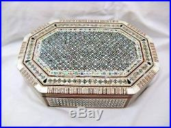 Egyptian Octagonal Mother of Pearl Wooden Inlaid Jewelry Box 11 X 7.5 #552