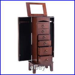 Eight24hours New Wood Jewelry Cabinet Armoire Storage Box Chest Stand Organizer