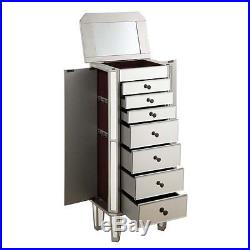 Elegant Lighting Danville 7 Drawer Mirrored Jewelry Armoire in Silver