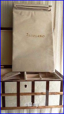 Ercolano Italy Luxury Handcrafted Jewelry Box Multi Wood Stripe Cream and Brown