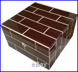 Ercolano Rosewood Wooden Handmade Italian Luxury Brown Jewelry Box with Tray Med