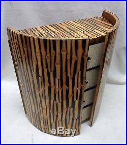 Estate Found R&Y Augousti Paris Bamboo Style Wooden Jewelry Box Shagreen Drawers