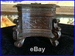 European Black Forest Hand Carved Wooden Small Jewelry Trinket Casket Box
