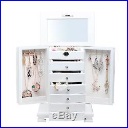 Extra Large White Wooden Jewelry Box Armoire Cabinet Chest Storage 6 Drawers 10