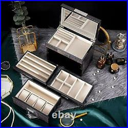 Extra Large Wooden Jewelry Box / Jewel Case Cabinet Armoire Ring black