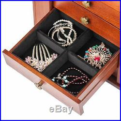 Extra Large Wooden Jewelry Case Cabinet Armoire Ring Necklacel Gift Storage Box