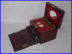 Fine Antique Victorian Amboyna Sewing Jewellery Writing Slope Compendium Box