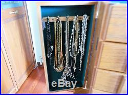 Floor Standing Wood Jewelry Cabinet Armoire Filled With Costume Jewelry Bling