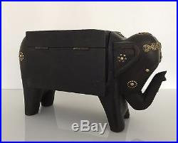 Fair Trade Handmade Indian Wooden Antique Elephant Jewellery Box Chest