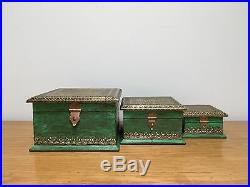 Fair Trade Handmade Vintage Wooden Indian Jewellery Storage Box Set Shabby Chic
