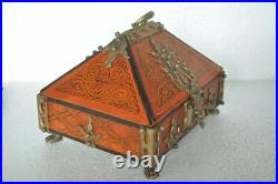Fine Wooden & Brass Handcrafted Painted Hut Shape Jewellery Box, Collectible