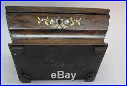 Finely Inlaid 19th C. English Rosewood Sewing Jewelry Box c. 1840 antique