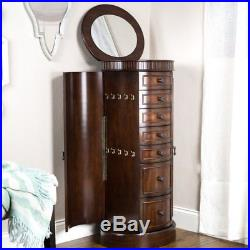 Floor Jewelry Box with Mirror Tall Armoire Stand Cabinet Wood Storage Organizer