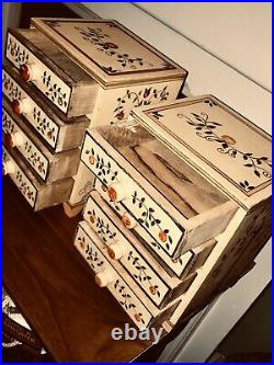 Folk Art Wooden DRAWERS CHEST Tabletop Smalls Keeper Country Decor Jewelry Box