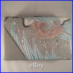 Frederick Cooper Carved Wooden Box Chicago Jewelry Trinket Pastel Dots Floral