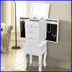 Free Stand Jewelry Cabinet Armoire Storage Chest Stand Organizer Wood Christmas