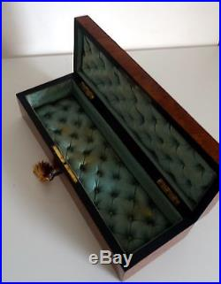French Antique Nap III Ladies Lined Glove/Fan/Jewelry Box With Working Lock Anti
