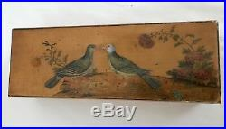 French Hand Painted Wooden Glove Jewelry Box Birds Flowers