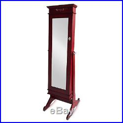 Full Length Mirror Jewelry Cabinet Armoire Storage Organizer Cabinet Floor Stand