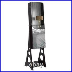 Full Mirror Wooden Floor Standing Jewelry Cabinet Storage Organizer With LED Light