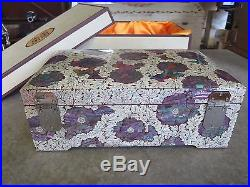 Gorgeous! Korean Mother Of Pearl Lacquerware Jewelry Box With Key