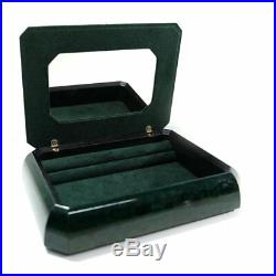 Green Wooden Jewelry Box with 925 Sterling Silver Cover