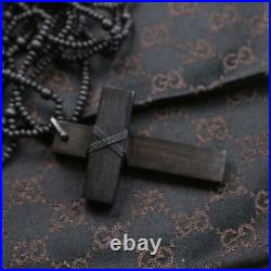 Gucci Authentic Wooden Cross Beaded Black Rosary Plain Pendant Necklace withBox