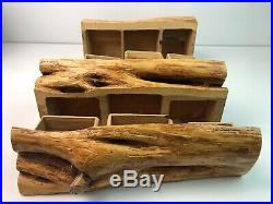Hand Carved Wooden Log Hidden 21 Drawers Jewelry Trinket Box