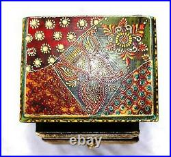 Hand Made Embossing Wood Wooden Jewelry Spice Storage Box Holder Rack 5 Drawers