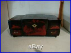Hand Painted Chest Jewelry Make Up Organizer Music Box Lacquer Wooden Japan
