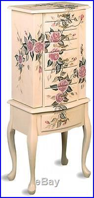 Hand Painted Off White Floral Motif Jewelry Storage Armoire by Coaster 4021