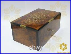 Hand carved Thuya wooden jewelry box handmade in morocco luxury Quality with key