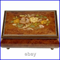 Handcrafted Wooden Elm Burl Musical Jewellery Box with Marquetry Inlay
