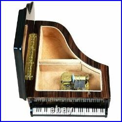 Handcrafted Wooden Elm Burl Musical Piano Jewellery Box with Marquetry Inlay