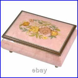 Handcrafted Wooden Pink Maple Burl Musical Jewellery Box with Marquetry Inlay