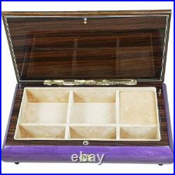Handcrafted Wooden Purple Maple Burl Musical Jewellery Box with Marquetry Inlay