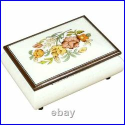 Handcrafted Wooden White Maple Burl Musical Jewellery Box with Marquetry Inlay