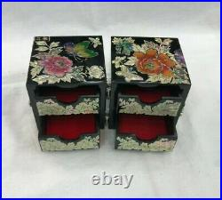 Handmade Inlaid Mother of Pearl Wooden Jewelry Deco Art Case Small Keepsake Box