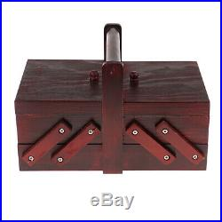 Handmade Vintage Wooden Jewelry Box Organizer Ring Trinket Case with Handle