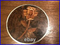 Handmade wooden rose inlay jewelry box with secret compartment and music box